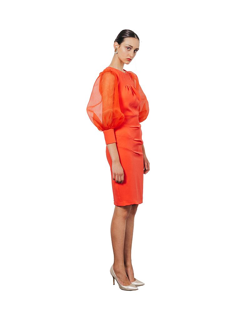 vestido coral cherubina