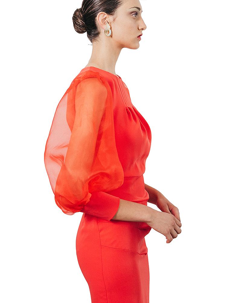 detalle organza vestido areusa