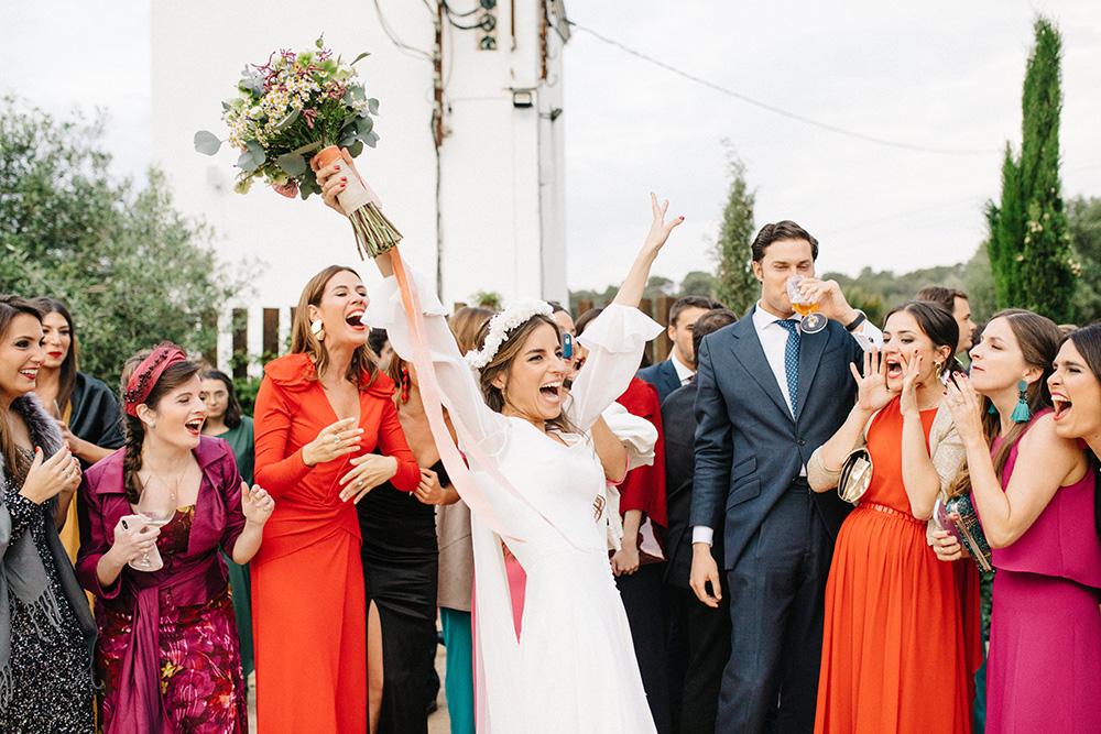 boda blanca momento ramo