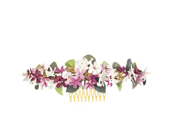 tocado hojas y flores de colores