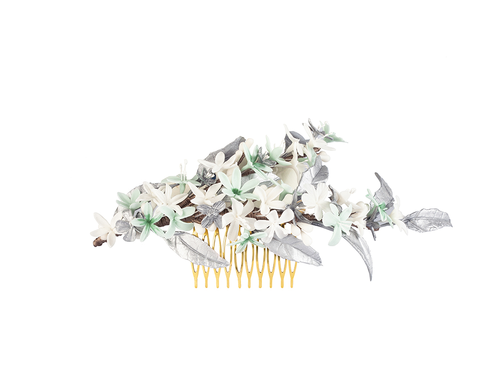 tocado hojas plata
