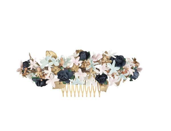 tocado flor papel y porcelana