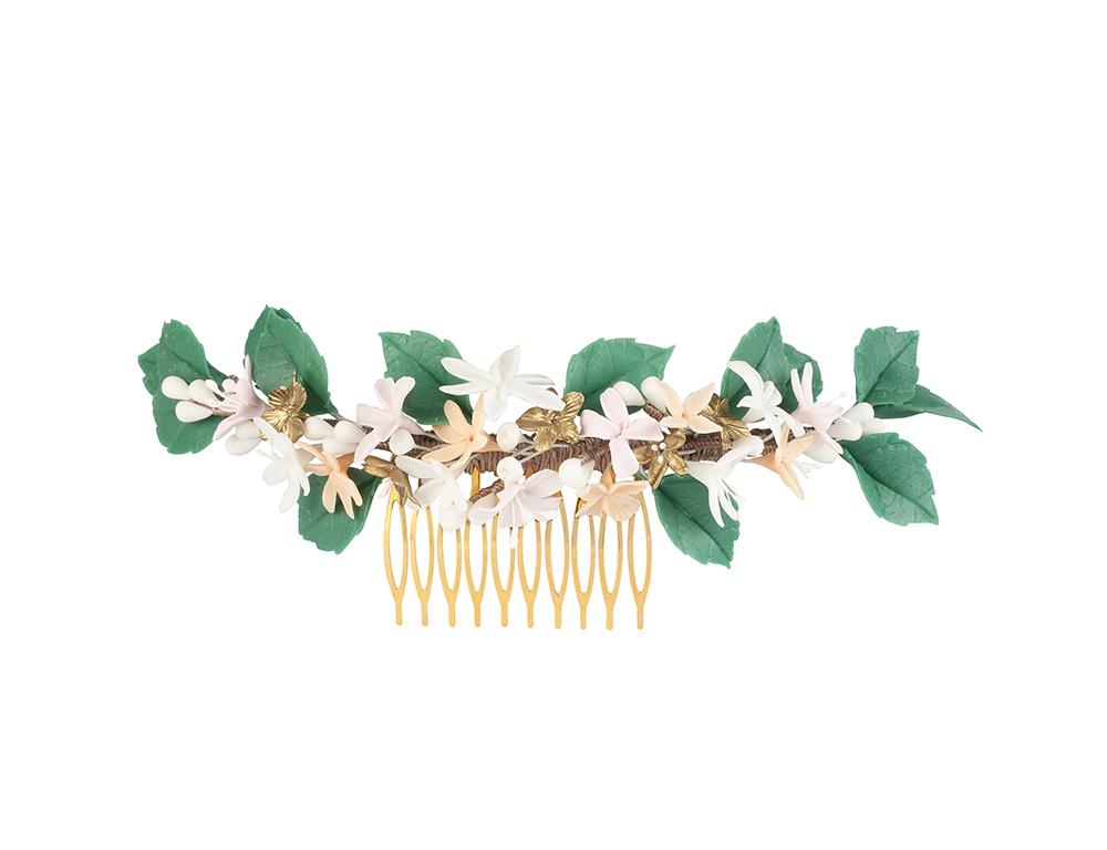tocado hojas verdes novia