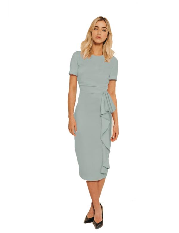 vestido azul empolvado