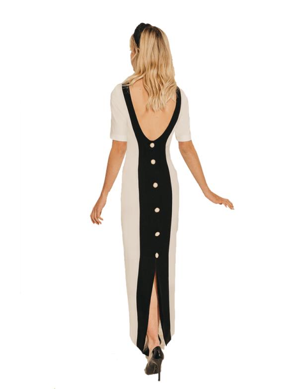 vestido escote espalda con botones bicolor