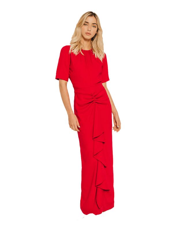 vestido largo rojo cherubina
