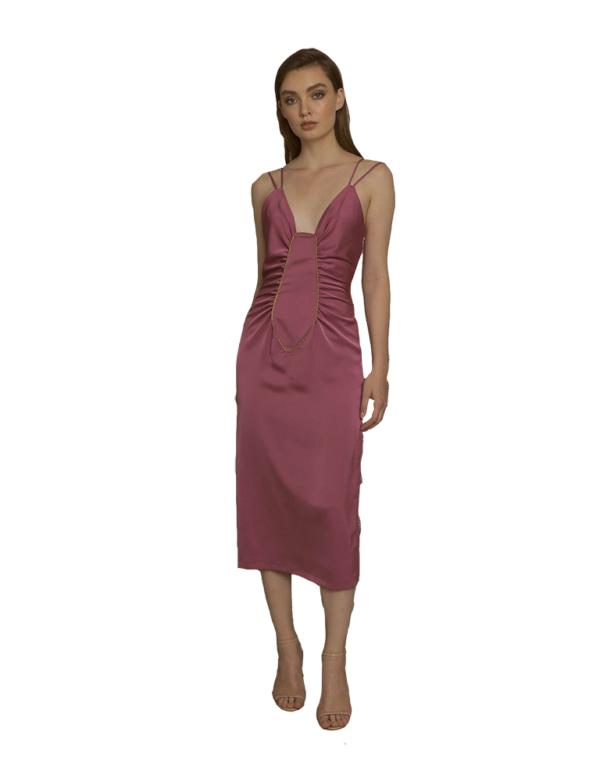 vestido saten rosa