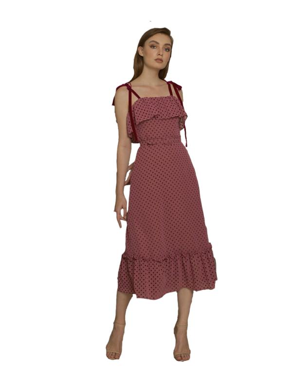 vestido plumetti y lazos