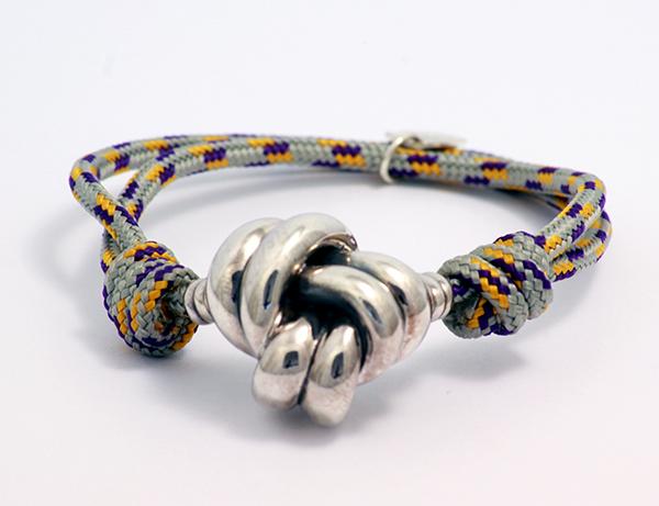 pulsera nudo plata con correa de cuerda